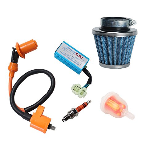 OxoxO Performance Racking Round Ac Fired 6 Pins Cdi Ignition Coil 3 Elecrode Spark Plug with Gas Fuel Filter & 39mm Air Filter for Chinese 50cc 125cc 150cc Gy6 Moped Scooter Go Kart - Go-kart Air Filter