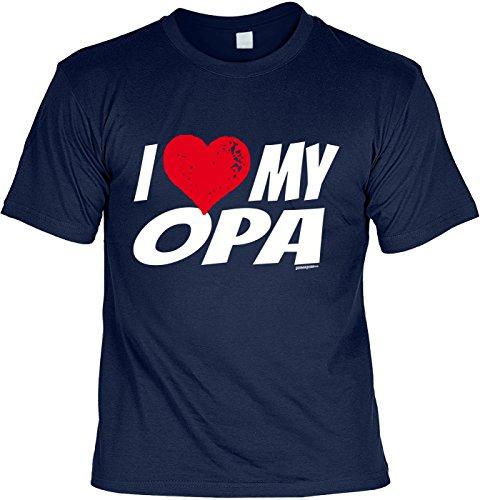 T-Shirt für Opa: i love my Opa. Herz - Geschenk, Geburtstag - navyblau Navyblau