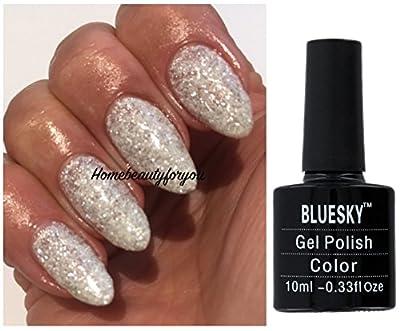 Bluesky Edelweiss KA4320 Silver Glitter and White Glitter Nail Gel Polish UV LED Soak Off 10ml PLUS 2 Luvlinail Shine Wipes