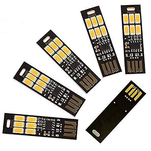 REFURBISHHOUSE5 Stueck USB Licht Schluesselanhaenger Super Hell 6 LEDs Mini USB Licht Lampe mit Intelligente Beruehrung Elektrodenlos Dimmen Schalter fuer Laptop-Tastatur Licht (weiss)