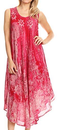 Sakkas 17806 - Julia Boho Ausgestelltes Mehrfarben Marmor Batik Baumwolle Lange Kleid/Cover Up - Pink - ()