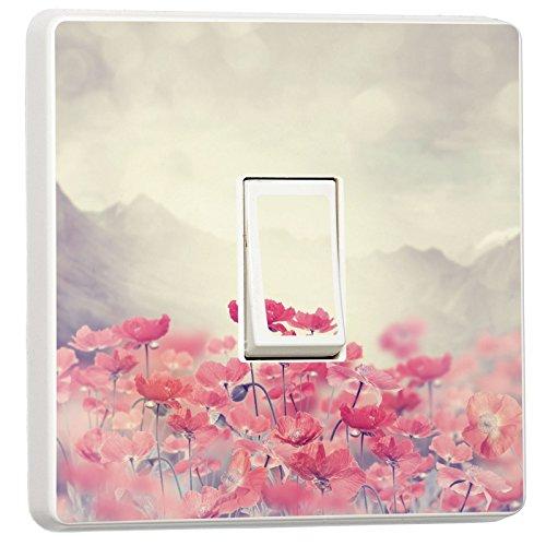 stika.co Schönen Blumen und Schmetterlinge Design Lichtschalter Bezug, Single Haut Aufkleber, Selbstklebendes Vinyl, 82 x 82mm (Single Lichtschalter)