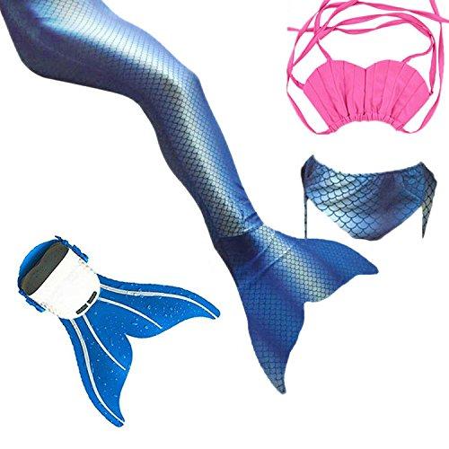 Flyhigh Mädchen Meerjungfrauen Bikini Tankini Kostüm Meerjungfrau Schwimmanzug Badeanzüge Meerjungfrauenschwanz + Schwanzflosse + niedlich Muschelbikini Der Hingucker im Schwimmbad! (blau, 120-130)