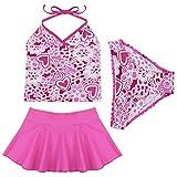 iEFiEL Niñas Traje de Baño Tankini Bañador Estampado Flores Cuello Halter de Tres Piezas Rosa Rosa Oscuro 8-10 años