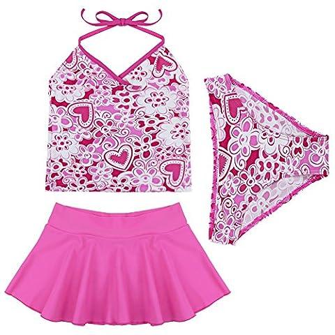 Tiaobug Kinder Mädchen Badeanzug Bademode Bikini Bade Set Tankini Kleidung 98 104 110 116 140 152 164 (128-140, Dunkel