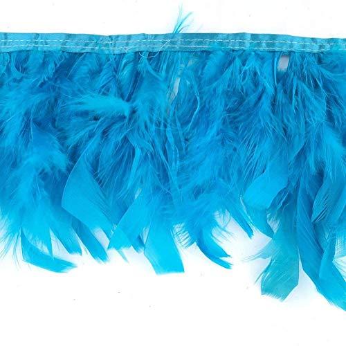 Kolight 10 Meter natürliche gefärbte Truthahnflocken Federn 10,2-15,2 cm Fransenverzierung DIY Kleid Basteln Kostüme Dekoration türkis