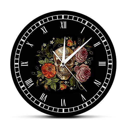 Xtyhj tatuaggio teschio rose orologio da parete death evil kill killer tattoo bodypart scheletro umano orologio da parete decorativo vintage orologio
