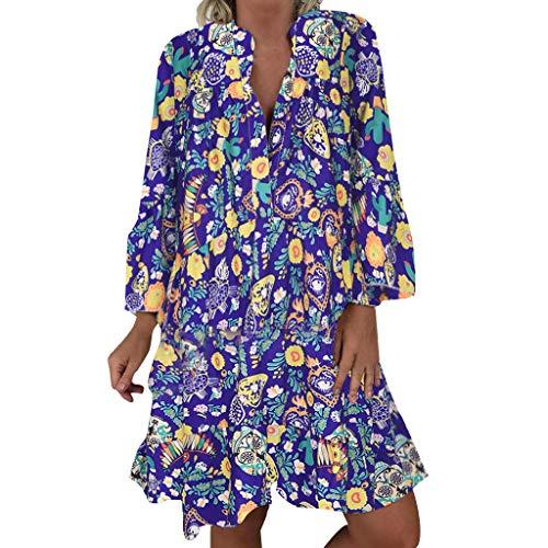 Feytuo Kleid Damen Sommer Rundhals Sling High Waist Polyester Für Mollige Damenmode Online Shop Kaufen Günstig Schne Röcke Strand Print Retro Dreiviertel Arm Kleidung Sale Oversize
