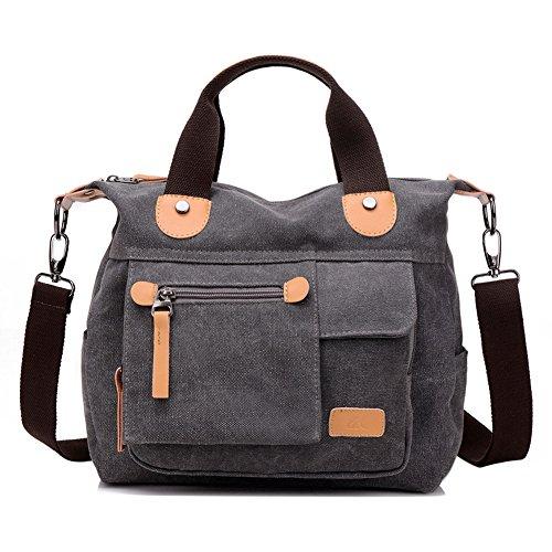 Travistar Canvas Damen Shopper Handtasche Vintage Schultertasche Retro Umhängetasche Multifunktions Tasche-Grau