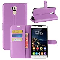 Oukitel U16 Max Case, HualuBro [All Around Protection] Premium PU Leather Wallet Flip Phone Protective Case Cover with Card Slots for Oukitel U16 Max Smartphone (Purple)