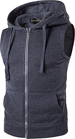 Sportides Hommes Casual Fashion Vest Hoodie Sans Manches Sweatshirt Shirt Top MFN_JZA001 DarkGray M