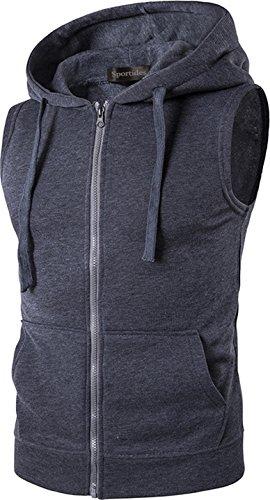 Fitted Dress Shirt (Sportides Herren Freizeit Fashion Weste Hoodie Sleevesless Sweatshirt Dress Shirts Weste Top MFN_JZA001 Darkgray XL)