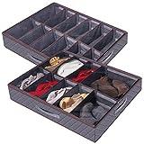 Lifewit Grandes Divisores Ajustables Debajo de la Cama Organizador de Zapatos Bolsa de Almacenamiento, Gris, 2 Paquete 24 Pares