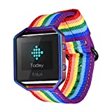 Fitbit Blaze Strap and Frame, Bandmax Rainbow Design Comfortable Nylon Weave Replacement Fabric Wrist Strap for Fitbit Blaze Smart Watch Valentine