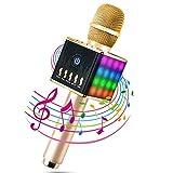 ERAY Microphone Sans Fil Karaoké Portable Bluetooth 4.1, LED Lampe Coloré Dynamique, 2 Haut-Parleur Intégré, Compatible avec Apple/Android/Smartphone/PC/iPad - Or