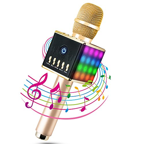 Micrófono Inalámbrico Portátil Bluetooth 4.1 2 Altavoces Incorporados con LED Luces de Colores para Karaoke TF Tarjeta hasta 16GB 3.5mm AUX Batería de 2000mAh Compatible con PC/ iPad/ iPhone/ Smartphone, Color Dorado