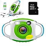 Enfants Appareil Photo Numérique Mini Projection Action Caméscope 1.44 Pouces Écran 1080 P HD Vidéo Innovant Caméra Poche Micro Numérique Caméscope Intérieur Extérieur pour Enfants (Vert, avec 8 Go SD Card)