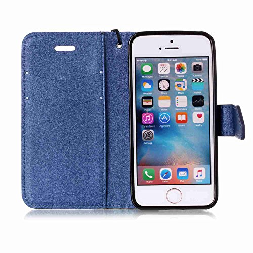 iPhone SE Hülle,iPhone 5S Hülle,iPhone 5 Hülle,iPhone SE/5S/5 Ledertasche Handyhülle Brieftasche im BookStyle,SainCat Rose Muster PU Leder Hülle Wallet Case Folio Schutzhülle Lederhülle Ledercase Scra Schwarz + Blau