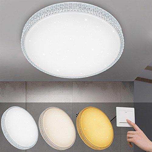 VINGO® 50W LED Deckenleuchte Starlight-Design Wandlampe Wohnraum Schlafzimmer Lampe Farbwechsel rund Mordern Dekor IP44 Geeignet für Wohnzimmer Schlafzimmer