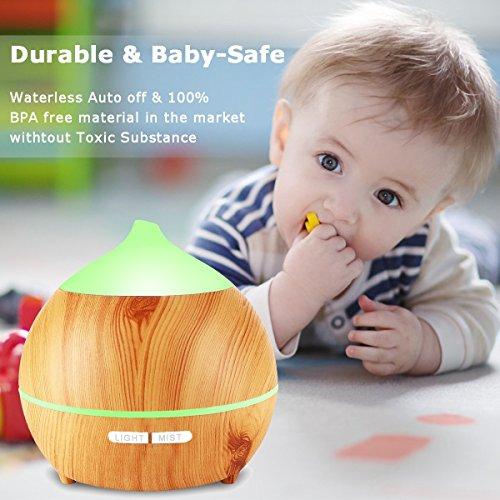 Aroma Diffuser, Avaspot 250ml Holzmaserung Aromatherapie Diffuser Ultraschall Luftbefeuchter Öle Diffusor Mit Niedrig Wasser Automatische Abschaltung, 7 Farbe LED Perfekt für