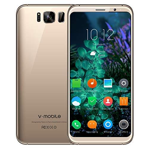 Telefono Movil,V Mobile S8 5.8 Pouce 16GB ROM 8MP+5MP Cámara Doble SIM 2800mAh Batterie Android 7.0 WIFI GPS Bluetooth 4G Smartphone Baratos Libres (Oro)