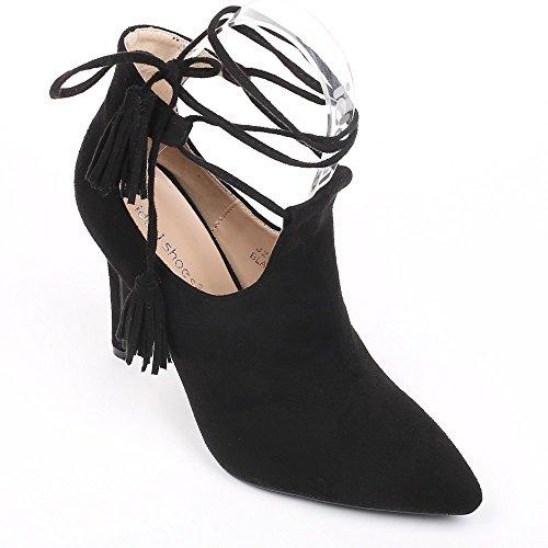 Ideal Shoes–Scarponcini a punta semi-ouvertes effetto camoscio Janane Nero