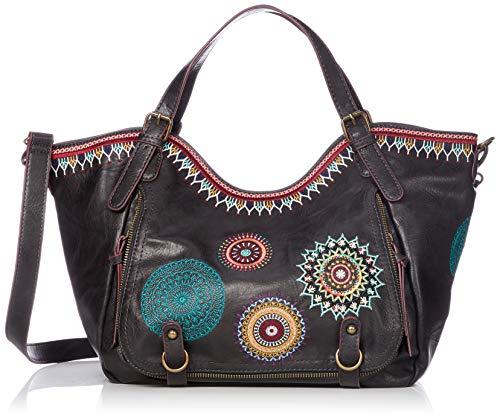 Desigual - Bols_siara Rotterdam, Shoppers y bolsos de hombro Mujer, Negro, 15x30x31 cm (B x H T)