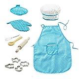 11pcs / set chef de cocina Conjunto de niños Juegos de rol traje del cocinero con el delantal del cocinero Sombrero Utensilios de Cocina
