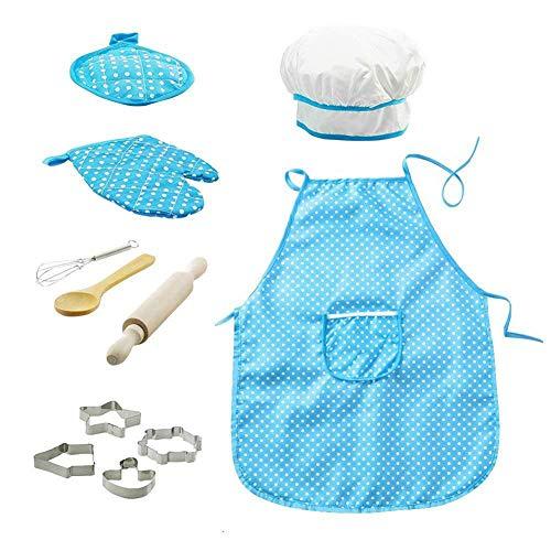 Mädchen Kleines Koch Kostüm - Xiton 11pcs / pack Chef-Set für Kinder Küchenrollen Koch-Kostüm mit Schürze Chef-Hut Utensilien Spiele Kochen Mitt (blau)