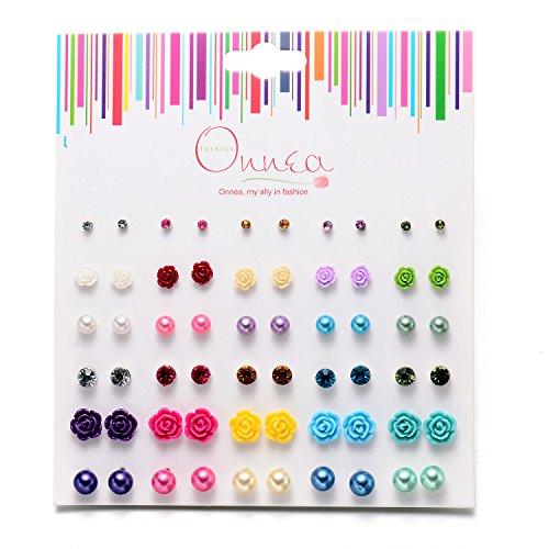 30 Paar mini Ohrstecker allergiefrei Ohrringe für Mädchen Damen Durchmesser 3-10mm -