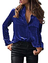 Fossen Mujer Terciopelo Blusa de Manga Larga Camisetas Oferta Blusas de Mujer Elegantes de Fiesta