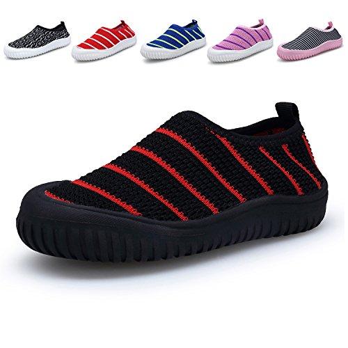 Bdawin Kinder Jungen Mädchen Baby Turnschuhe Schlüpfen Atmungsaktiv Sneaker Schuhe für Gehen Laufen,59 Black EU27