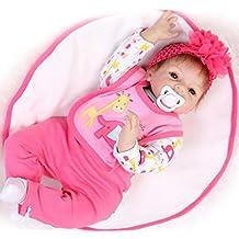Yesteria Realista Reborn Bebé Silicona Vinilo Suave Tacto Muñeca Muchacha 55 cm Traje Rojo Rosa