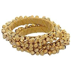 FashBlush Golden Handmade EthnicGhungroo Bangles Set of 2 , For Women (2.6)