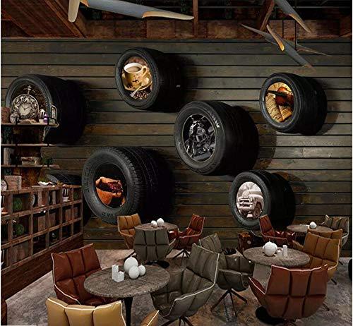 Wiwhy Carta Da Parati Personalizzata 3D Stereo Foto Murale Nostalgico Auto Pneumatici Tv Sfondo Muro Soggiorno Camera Da Letto Carta Da Parati 3D Murale-400X280Cm