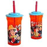 Zak Designs Drinking Cup with Straw | 400 ml | Fireman Sam | Children Tumbler