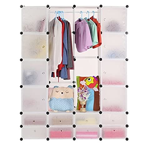Interlocking Plastic Wardrobe Cabinet 24-Cube Modular Shelving Closet Storage Cabinet Organizer with Translucent Doors for Clothes, Shoes, Toys and Books(UK