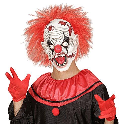 ruselige Horror Clown Maske mit Haaren Latexmaske ES Clownmaske Halloween Gruselmaske Horrorclown Kostüm Halloweenmaske Horrormaske (Gruselige Psycho Clown Kostüm)
