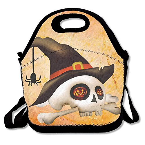 (Girls Boys Food Lunch Tote Halloween Skull Spider Picnic School Work Portable Reusable Handbag Bags Boxes Lunchbox Outdoor Totes)