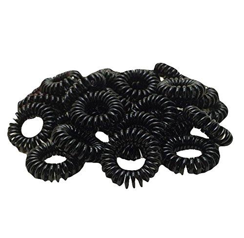 Cosanter Schwarz Haargummi Telefonkabel Elastisch Spirale Telefonkabel Haarband Telefonhaargummi 100er Pack