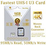 Amplim 16GB Micro SDHC U3 Card Plus SD Adapter Pack Extreme Pro Class 10 UHS-I MicroSDHC 95MB/s Read, 50MB/s Write. Ultra High Speed HD UHD 4K Video. Internal/External MicroSD Flash Memory Storage