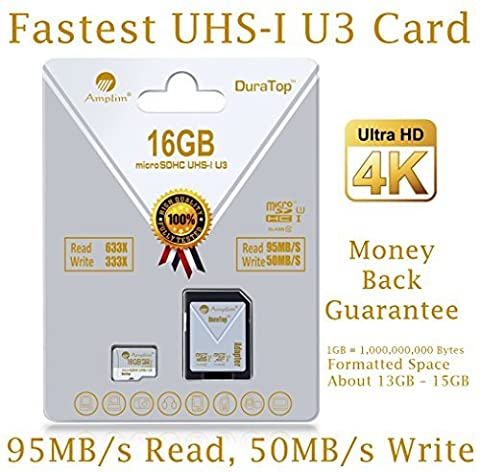16GB Micro SDHC U3 Card Plus SD Adapter Pack. Amplim