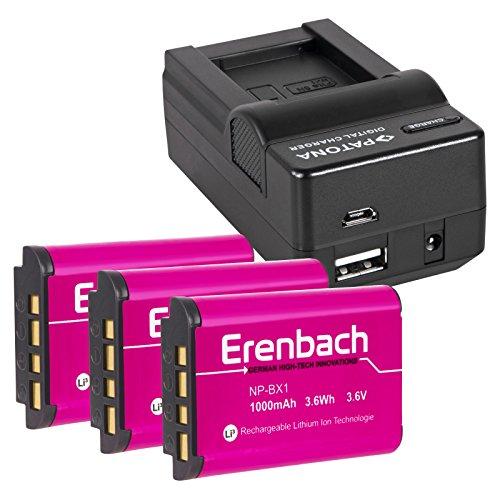 4in1-SET für den Sony HDR-PJ410 Full HD Camcorder --- 3 ERENBACH Markenakkus für Sony NP-BX1 (starke 1000mAh) + 4in1 Ladegerät (u.a. mit USB / micro-USB und Kfz/Auto)