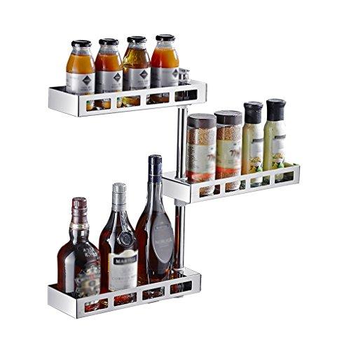 Mensola da cucina/mensola in acciaio inox/mensola rotante/mensola angolare a parete/mensola condimento (3 livelli)