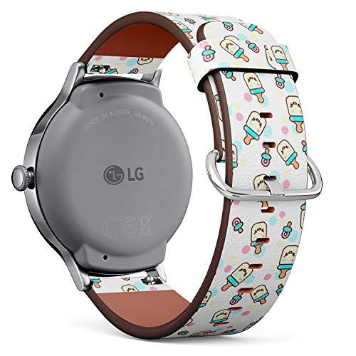 Compatible con LG Watch Style, Correa de Reloj de Cuero con pasadores de liberación rápida (Botellas Infantiles Divertidas)