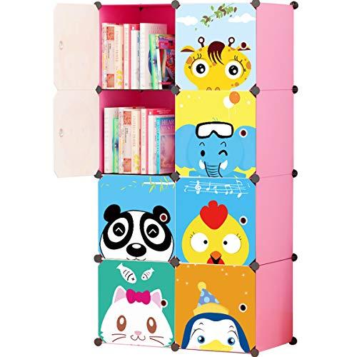 Koossy Erweiterbares Kinderregal Kinder Kleiderschrank mit Karikatur für Kinderzimmer...