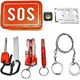 OUTDOOR SAXX® - SOS Survival Notfall Tool Box | Taschen-Lampe Werkzeug Messer Kompass Säge Pfeife Schraubenschlüssel Öffner Fire Stick | 7-Teilig - 2