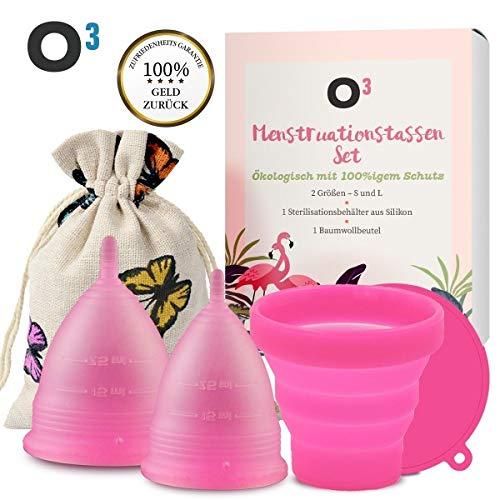 O³ Menstruationstasse // Set aus Größe S und L mit Reinigungsbehälter und Baumwollbeutel // Menstrual cup klein + groß // Wiederverwendbare Perioden Tassen // Medizinisches Silikon