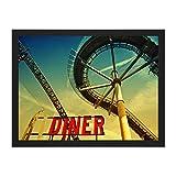 Doppelganger33 LTD Composition Fairground Diner Roller Coaster Art Large Framed Art Print Poster Wall Decor 18x24 inch Supplied Ready to Hang