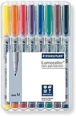 Staedtler Lumocolor 315 WP8 Universalstift, non-permanent, schnelltrocknend, abwischbar, nachfüllbar, Strichbreite M - ca. 1 mm, 8 farblich sortierte Universalstifte in aufstellbarer Staedtler Box